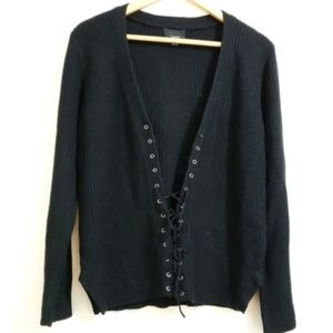 Anthropologie | Lumiere | Soft Lace Up Sweater